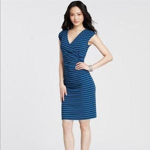Ann Taylor Stripe Knit Cap Sleeve Crossover Dress
